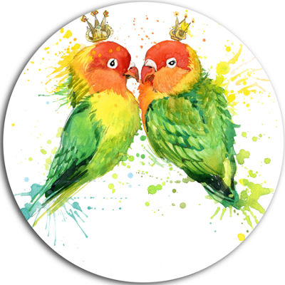 Design Art Family Parrots Disc Watercolor Animal Circle Metal Wall Art