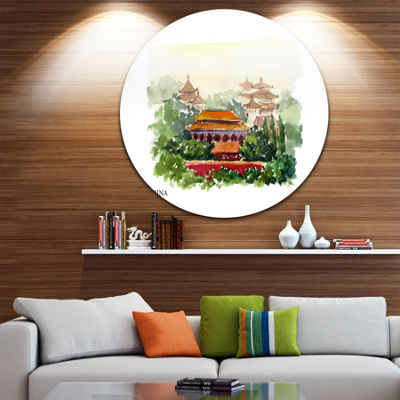 Design Art China Vector Illustration Cityscape Circle Metal Wall Art