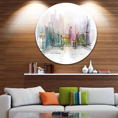 Design Art City in a Distance Illustration Disc Cityscape Circle Metal Wall Art