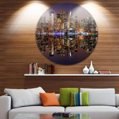 Design Art City of Manhattan Panorama Cityscape Photo Circle Metal Wall Art