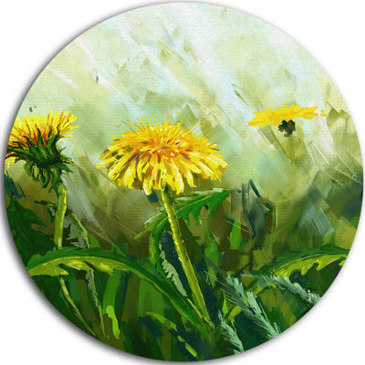 Design Art Dandelion Flowers Floral Decorative Circle Metal Wall Art