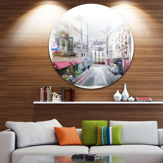 Design Art City Street Illustration Disc CityscapeCircle Metal Wall Art