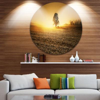 Design Art Farmland Panorama Disc Landscape Photography Circle Metal Wall Art
