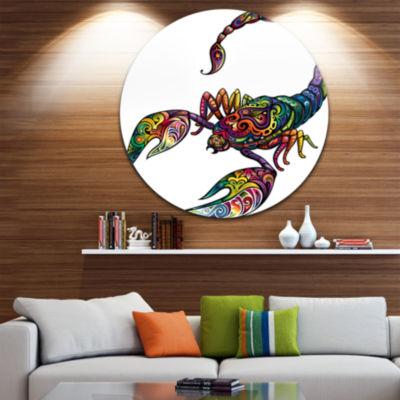 Design Art Cheerful Scorpion Disc Animal Circle Metal Wall Art