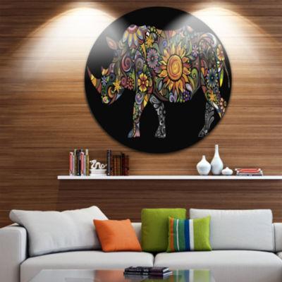 Design Art Cheerful Rhinoceros Disc Animal CircleMetal Wall Art