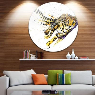 Design Art Cheetah Illustration Artwork Animal Circle Metal Wall Art