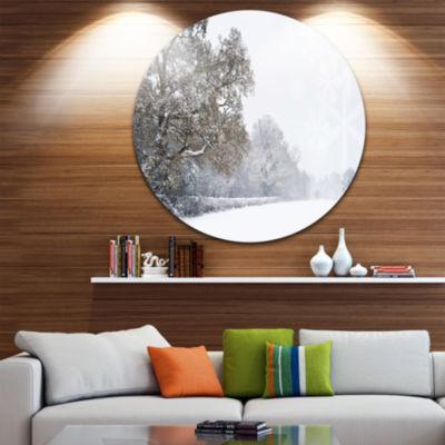 Design Art Christmas Winter Snow Disc Landscape Photography Circle Metal Wall Art