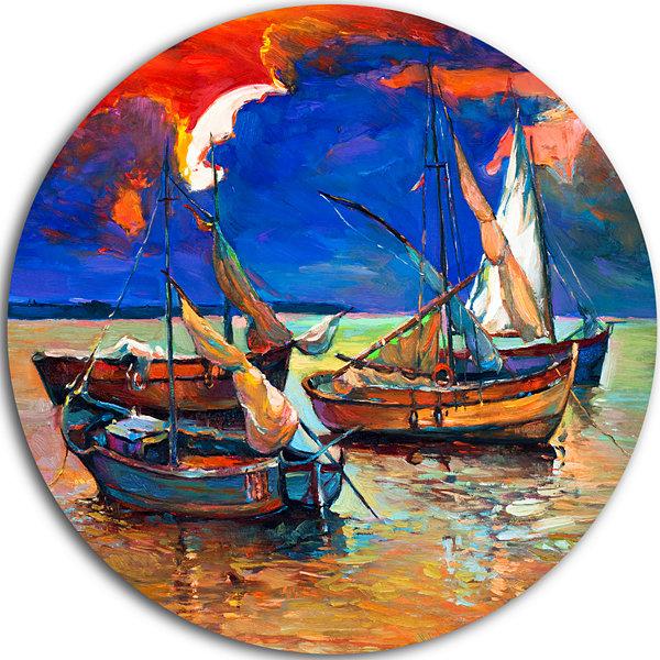 Design art fishing boats under blue sky seascape circle for Circle fishing boat