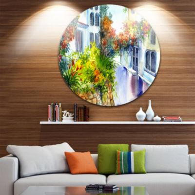 Design Art Flowers near the House Landscape CircleMetal Wall Art