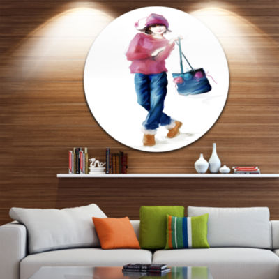 Design Art Fashion Young Girl in Red Disc PortraitCircle Metal Wall Art