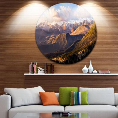 Design Art Clouds over Long s Peak Landscape DiscCircle Metal Wall Art