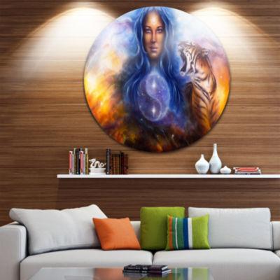 Design Art Female Goddess Lada Disc Portrait Circle Metal Wall Art