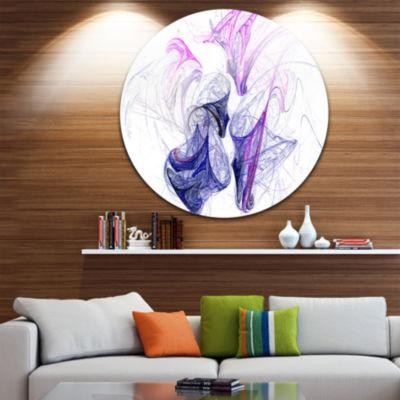 Design Art Colored Smoke Purple Abstract Circle Metal Wall Art