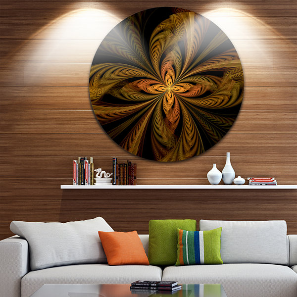 Design Art Colorful Fractal Flower Pattern Contemporary Round Circle Metal Wall Decor
