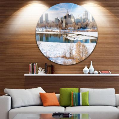 Design Art City of Saskatoon Winter Panoramic DiscLandscape Circle Metal Wall Art
