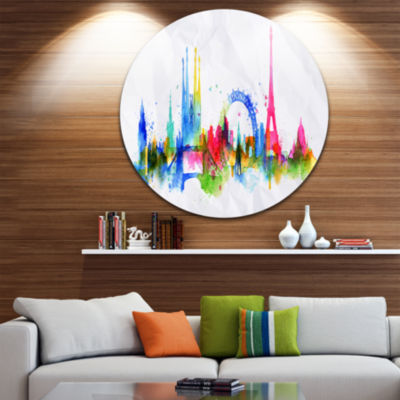 Design Art Colorful Paris Silhouette Disc Cityscape Painting Circle Metal Wall Art