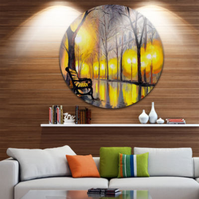Design Art Empty Autumn Street Landscape Metal Circle Wall Art