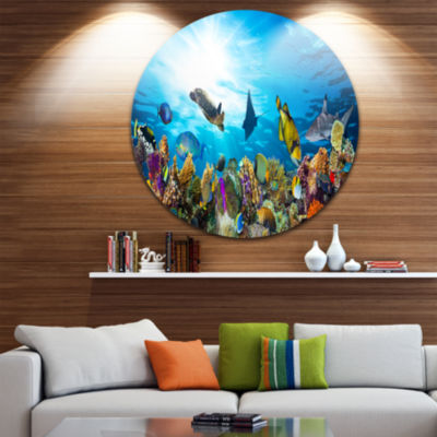 Design Art Colorful Coral Reef with Fishes Disc Seascape Circle Metal Wall Art