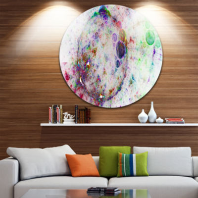 Design Art Colorful Spherical Planet Bubbles Abstract Round Circle Metal Wall Art