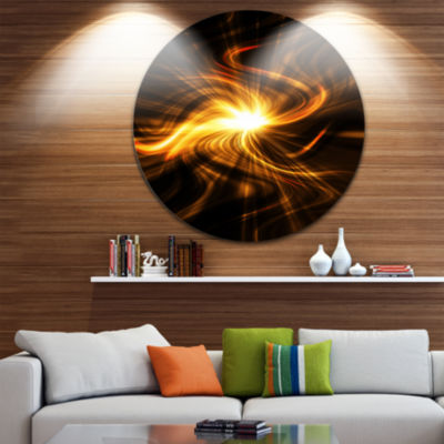 Design Art Explosion of Fire in Black Abstract Circle Metal Wall Art