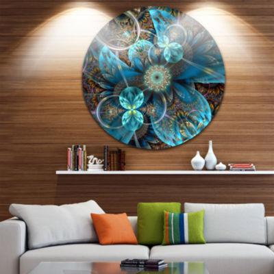 Design Art Fractal Blue Flowers Disc Floral CircleMetal Wall Art