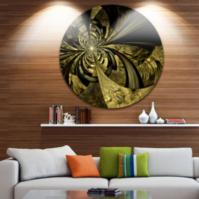 Design Art Colorful Fractal Flower Pattern Abstract Art on Round Circle Metal Wall Decor Panel