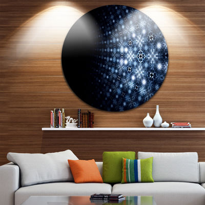 Design Art Digital Fractal Flower Perspective Abstract Round Circle Metal Wall Decor Panel