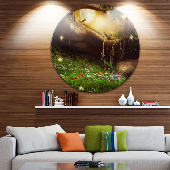 Design Art Enchanted Cave with Flowers Landscape Circle Metal Wall Art