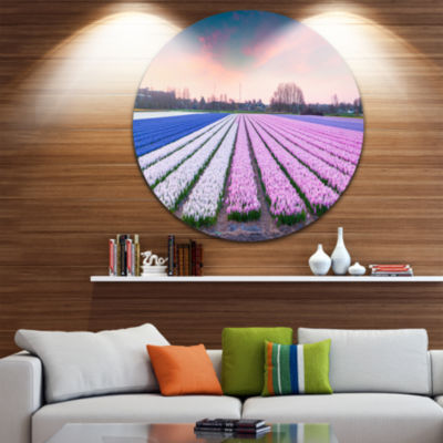 Design Art Colorful Hyacinth Flowers at Sunrise Disc Photography Circle Metal Wall Art