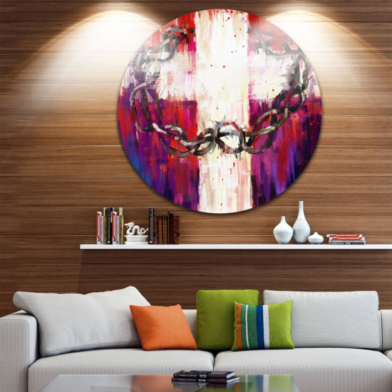 Design Art Crown of Thorns Abstract Circle Metal Wall Art