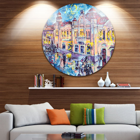 Design Art City at Night with People Cityscape Metal Circle Wall Art