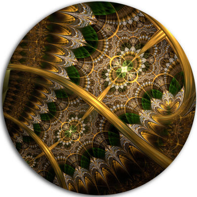Design Art Dark Green Gold Fractal Flower AbstractRound Circle Metal Wall Decor Panel