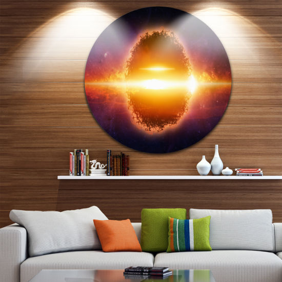 Design Art Exploding Planet in Space Spacescape Circle Metal Wall Art