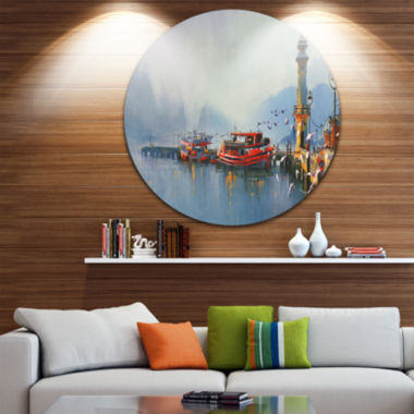 Design Art Fishing Boats in Harbor Disc LandscapePainting Circle Metal Wall Art