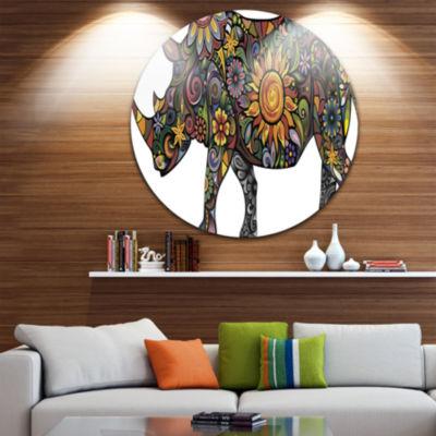 Design Art Cheerful Rhinoceros on White Disc Animal Circle Metal Wall Art