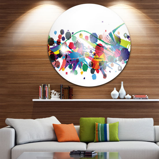 Design Art Colorful Circles and Shapes Disc LargeAbstract Circle Metal Wall Art
