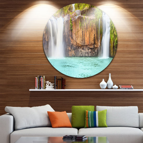 Design Art Dry Sap Waterfall Disc Photography Circle Metal Wall Art
