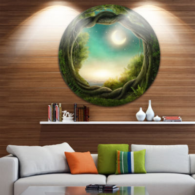 Design Art Enchanted Dark Forest Landscape Photography Circle Metal Wall Art