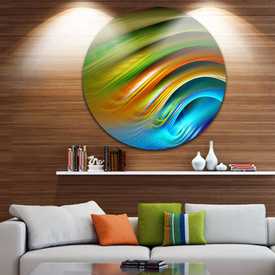 Design Art Colorful Fractal Water Ripples AbstractRound Circle Metal Wall Decor
