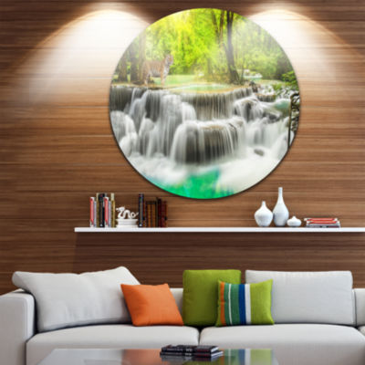 Design Art Erawan Waterfall in Kanchanaburi Disc Photography Circle Metal Wall Art