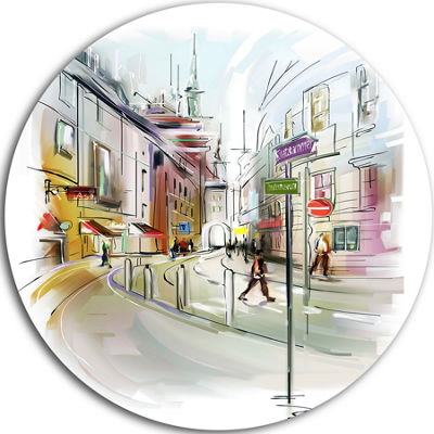 Design Art Colorful Illustration of City Disc Cityscape Circle Metal Wall Art