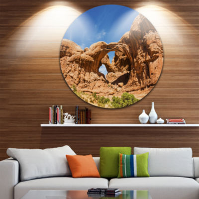 Design Art Double Arch in Arches National Park Landscape Photography Circle Metal Wall Art