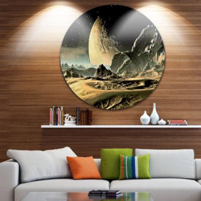Design Art Crashed Spaceship Disc Contemporary Circle Metal Wall Art