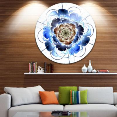 Design Art Dark Blue Fractal Flower Disc Floral Circle Metal Wall Art
