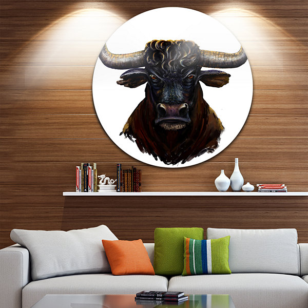 Design Art Furious Bull Illustration Art Animal Circle Metal Wall Art