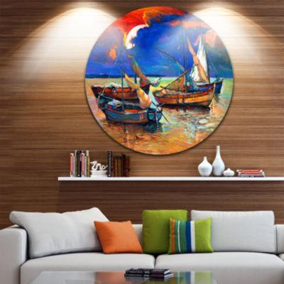 Design Art Fishing Boats Under Blue Sky Seascape Circle Metal Wall Art