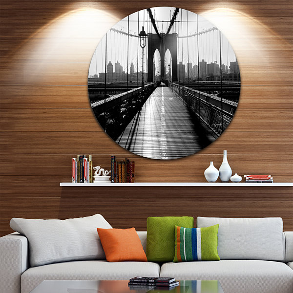 Design Art Dark Brooklyn Bridge Disc Cityscape Photo Circle Metal Wall Art