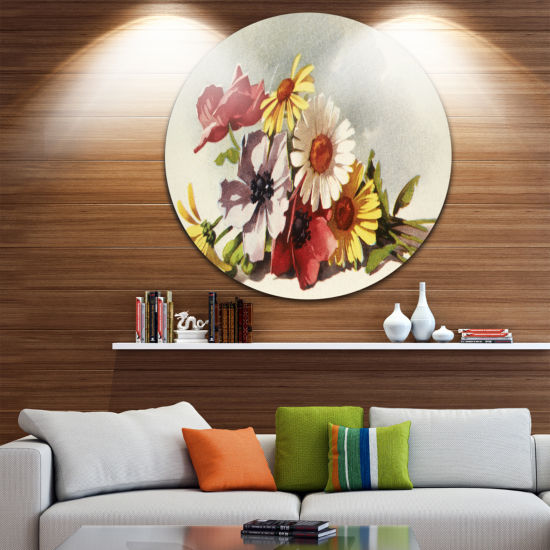 Design Art Flowers Illustration Disc Floral Decorative Circle Metal Wall Art