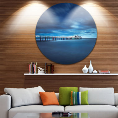 Design Art Cloudy Sky Calm Blue Waters Seascape Circle Metal Wall Art