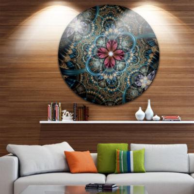 Design Art Dark Purple Fractal Flower Disc FloralCircle Metal Wall Art